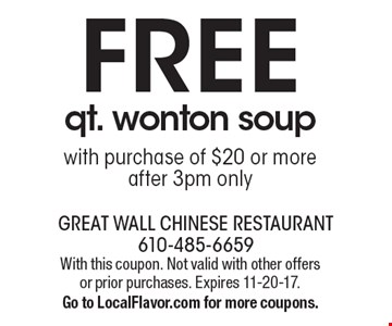 FREE qt. wonton soup with purchase of $20 or more. after 3pm only. With this coupon. Not valid with other offers or prior purchases. Expires 11-20-17. Go to LocalFlavor.com for more coupons.