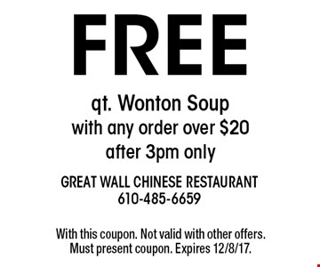 Free qt. Wonton Soup with any order over $20  -after 3pm only. With this coupon. Not valid with other offers. Must present coupon. Expires 12/8/17.