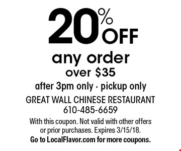 20% OFF any order over $35 after 3pm only - pickup only. With this coupon. Not valid with other offers or prior purchases. Expires 3/15/18.Go to LocalFlavor.com for more coupons.