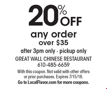 20% off any order over $35 after 3pm only - pickup only. With this coupon. Not valid with other offers or prior purchases. Expires 7/15/18. Go to LocalFlavor.com for more coupons.