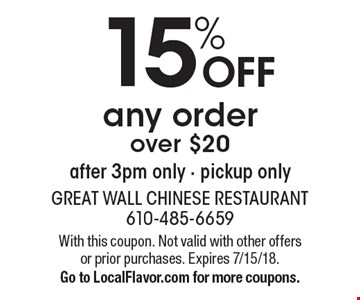 15% off any order over $20 after 3pm only - pickup only. With this coupon. Not valid with other offers or prior purchases. Expires 7/15/18. Go to LocalFlavor.com for more coupons.
