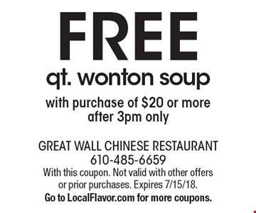 Free qt. wonton soup with purchase of $20 or more. After 3pm only. With this coupon. Not valid with other offers or prior purchases. Expires 7/15/18. Go to LocalFlavor.com for more coupons.