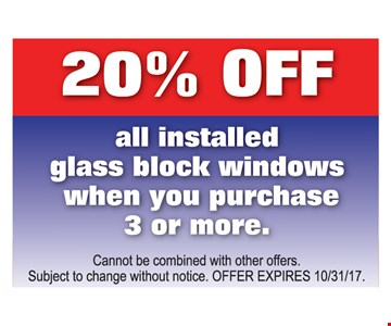 20% off all installed windows with purchase of 3 or more.
