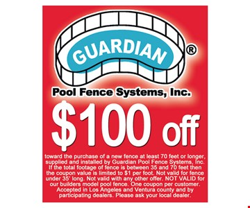 $100 Off toward purchase of new fence at least 70 feet or longer
