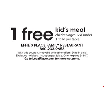 1 free kid's meal. Children ages 12 & under 1 child per table. With this coupon. Not valid with other offers. Dine in only. Excludes holidays. 1 coupon per table. Offer expires 9-8-17.Go to LocalFlavor.com for more coupons.