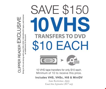 Save $150 10 VHS transfers to DVD $10 Each - min of 10 to get this Prices