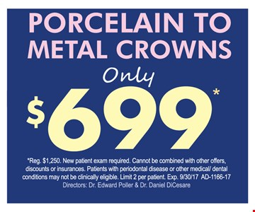 Porcelain to Metal crowns only $699