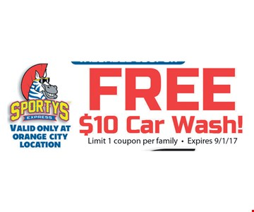 Free $10 car wash! Limit 1 coupon per family. Expires 9/1/17.