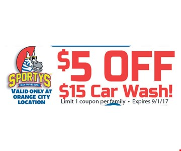 $5 off $15 car wash! Limit 1 coupon per family. Expires 9/1/17