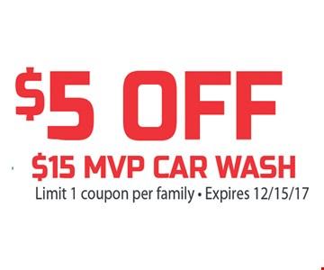$5 Off $15 MVP car wash