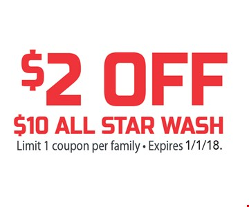 $2 off $10 all star wash