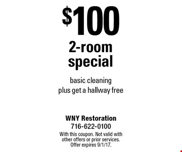 $100 2-room special basic cleaning plus get a hallway free. With this coupon. Not valid with other offers or prior services. Offer expires 9/1/17.