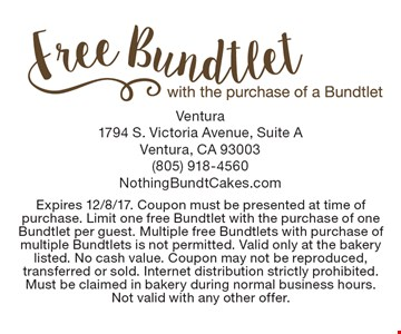 Free Bundtlet with the purchase of a Bundtlet. Expires 12/8/17. Coupon must be presented at time of purchase. Limit one free Bundtlet with the purchase of one Bundtlet per guest. Multiple free Bundtlets with purchase of multiple Bundtlets is not permitted. Valid only at the bakery listed. No cash value. Coupon may not be reproduced, transferred or sold. Internet distribution strictly prohibited. Must be claimed in bakery during normal business hours. Not valid with any other offer.