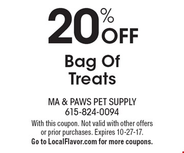 20% Off Bag Of Treats. With this coupon. Not valid with other offers or prior purchases. Expires 10-27-17. Go to LocalFlavor.com for more coupons.