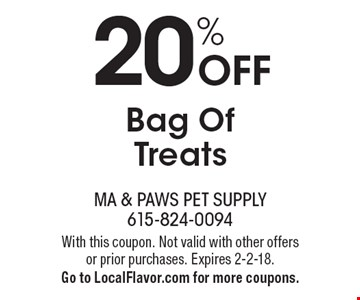 20% Off Bag Of Treats. With this coupon. Not valid with other offers or prior purchases. Expires 2-2-18. Go to LocalFlavor.com for more coupons.