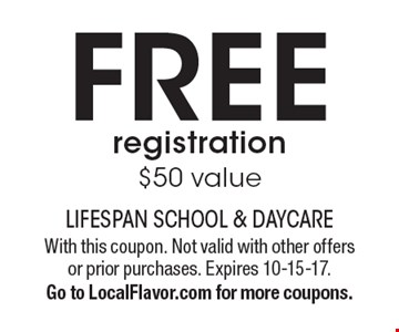 FREE registration $50 value. With this coupon. Not valid with other offers or prior purchases. Expires 10-15-17. Go to LocalFlavor.com for more coupons.