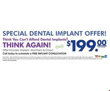 $199 for implant, abutment & crown