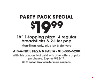 Party Pack Special. $19.99 18