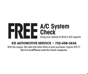 FREE A/C System Check. Bring your vehicle to Brick's A/C experts. With this coupon. Not valid with other offers or prior purchases. Expires 9/8/17. Go to LocalFlavor.com for more coupons.