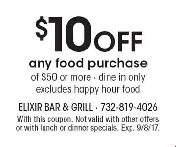 $10 off any food purchase of $50 or more. Dine in only. Excludes happy hour food. With this coupon. Not valid with other offers or with lunch or dinner specials. Exp. 9/8/17.