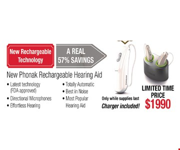 new Phonak rechargeable hearing aid - $1990 charger included