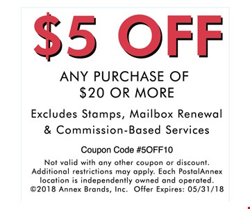 $5  OFF ANY PURCHASE OF $20 OR MORE