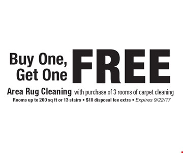 FREE Buy One, Get One Rooms up to 200 sq ft or 13 stairs - $10 disposal fee extra - Expires 9/22/17.