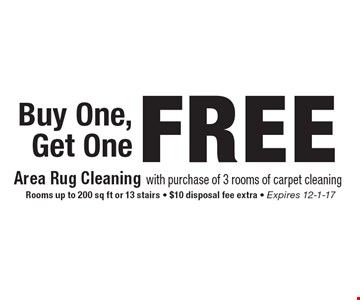 Buy One, Get One FREE Area Rug Cleaning with purchase of 3 rooms of carpet cleaning. Rooms up to 200 sq ft or 13 stairs - $10 disposal fee extra - Expires 12-1-17