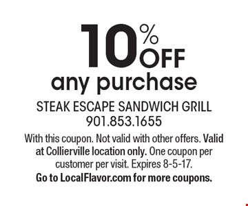 10% OFF any purchase. With this coupon. Not valid with other offers. Valid at Collierville location only. One coupon per customer per visit. Expires 8-5-17. Go to LocalFlavor.com for more coupons.