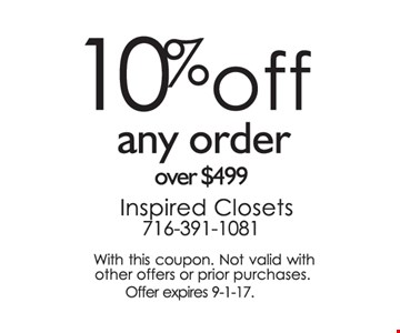 10% off any order over $499