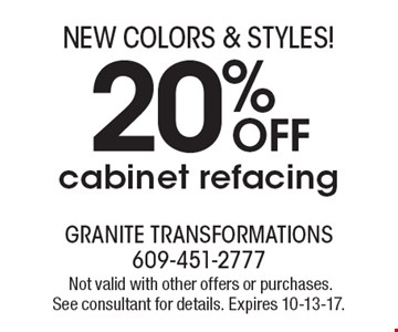 20% OFF cabinet refacing.Not valid with other offers or purchases. See consultant for details. Expires 10-13-17.