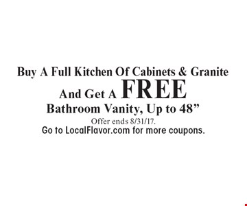 Buy A Full Kitchen Of Cabinets & Granite And Get A FREE Bathroom Vanity, Up to 48