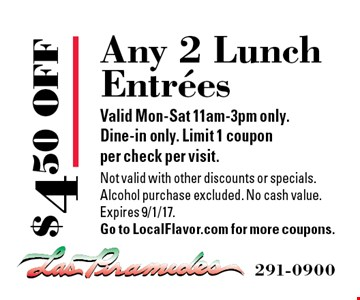 $4.50 OFF Any 2 Lunch Entrees. Valid Mon-Sat 11am-3pm only. Dine-in only. Limit 1 coupon per check per visit. Not valid with other discounts or specials. Alcohol purchase excluded. No cash value. Expires 9/1/17. Go to LocalFlavor.com for more coupons.