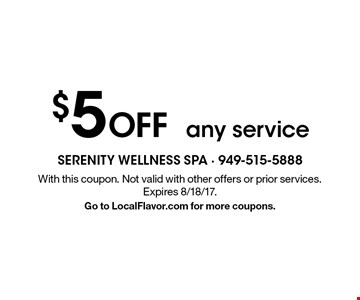 $5 Off any service. With this coupon. Not valid with other offers or prior services. Expires 8/18/17. Go to LocalFlavor.com for more coupons.