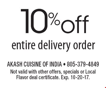 10%off entire delivery order. Not valid with other offers, specials or Local Flavor deal certificate. Exp. 10-20-17.