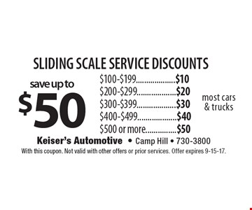 Sliding scale service discounts save up to $50. $100-$199...................$10. $200-$299...................$20. $300-$399...................$30. $400-$499...................$40. $500 or more...............$50. Most cars & trucks. With this coupon. Not valid with other offers or prior services. Offer expires 9-15-17.