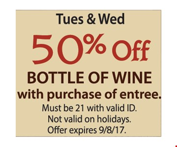 Tue. & Wed. 50% Off a Bottle of Wine