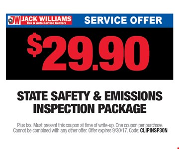 $29.90 Safety and Emissions Inspection Package