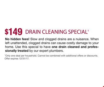 $149 Drain Cleaning Special