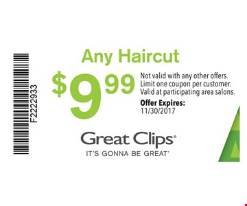 $9.99 any haircut