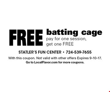 Free batting cage. Pay for one session, get one FREE. With this coupon. Not valid with other offers Expires 9-10-17. Go to LocalFlavor.com for more coupons.