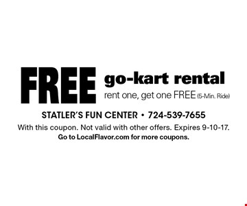 Free go-kart rental. Rent one, get one FREE (5-Min. Ride). With this coupon. Not valid with other offers. Expires 9-10-17. Go to LocalFlavor.com for more coupons.