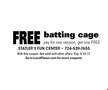 Free batting cage buy one, get one FREE. With this coupon. Not valid with other offers or prior purchases. Exp. 9-10-17. Go to LocalFlavor.com for more coupons.