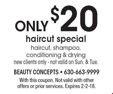 Haircut special only $20. Haircut, shampoo, conditioning & drying, new clients only. Not valid on Sun. & Tue. With this coupon. Not valid with other offers or prior services. Expires 2-2-18.