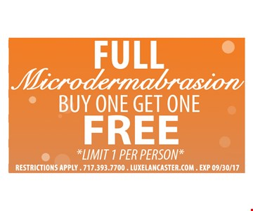 Full microdermabrasion. Buy one get one free