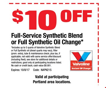 $10 OFF full - service synthetic Blend or Full Synthetic Oil change*