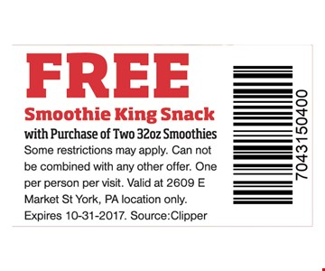 Free Smoothie King snack with purchase.