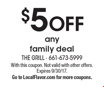 $5 off any family deal. With this coupon. Not valid with other offers. Expires 9/30/17. Go to LocalFlavor.com for more coupons.
