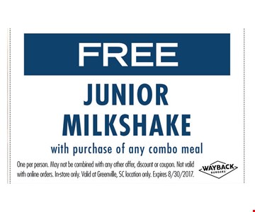 Free Junior Milk with purchase of any combo meal