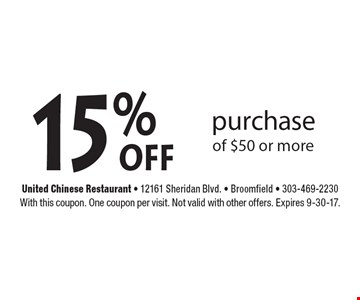 15%off purchase of $50 or more. With this coupon. One coupon per visit. Not valid with other offers. Expires 9-30-17.